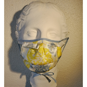 Silk Mask in Summer Colors of Blue, Yellow and White
