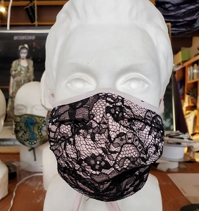 Pink Silk Georgette and Black Lace Mask