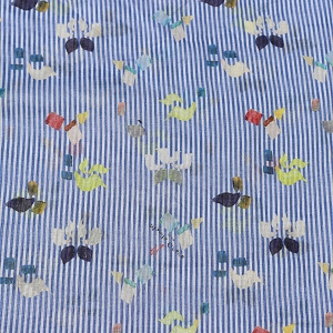 Icons on Blue and White Stripes Cotton Voile