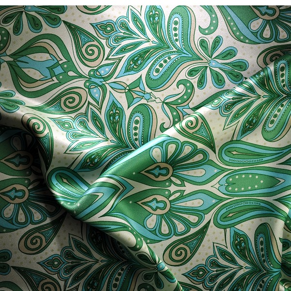 Peacock Tail Silk Charmeuse Print