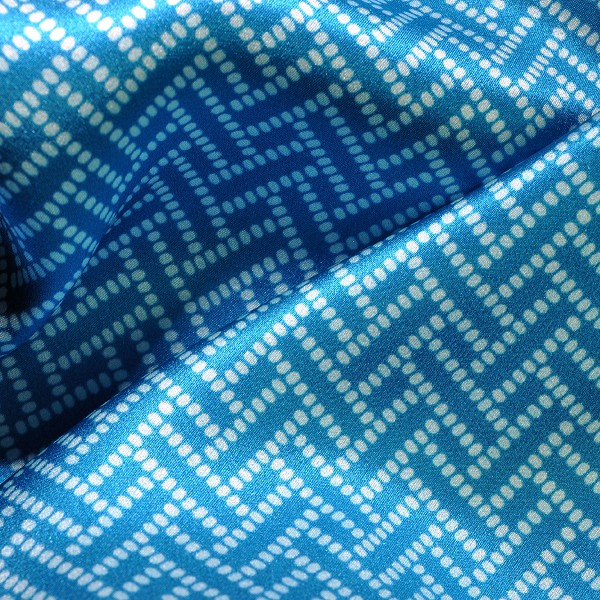 Hawaiian Blue Graphic Silk Charmeuse Print